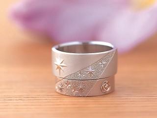 流れ星やバラの花のモチーフのフルオーダーリングアンティークな結婚指輪(婚約指輪)エルドーセレクトブランド『カツキ』