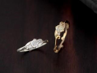 花のアンティークな結婚指輪(婚約指輪)エルドーセレクトブランド『カツキ』