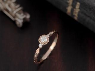 薔薇(バラ)の花のアンティークな結婚指輪(婚約指輪)エルドーセレクトブランド『カツキ』