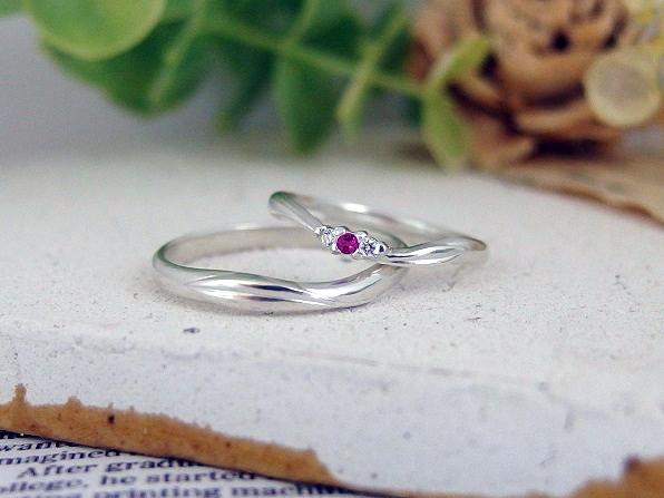 完成したオリーブモチーフの結婚指輪
