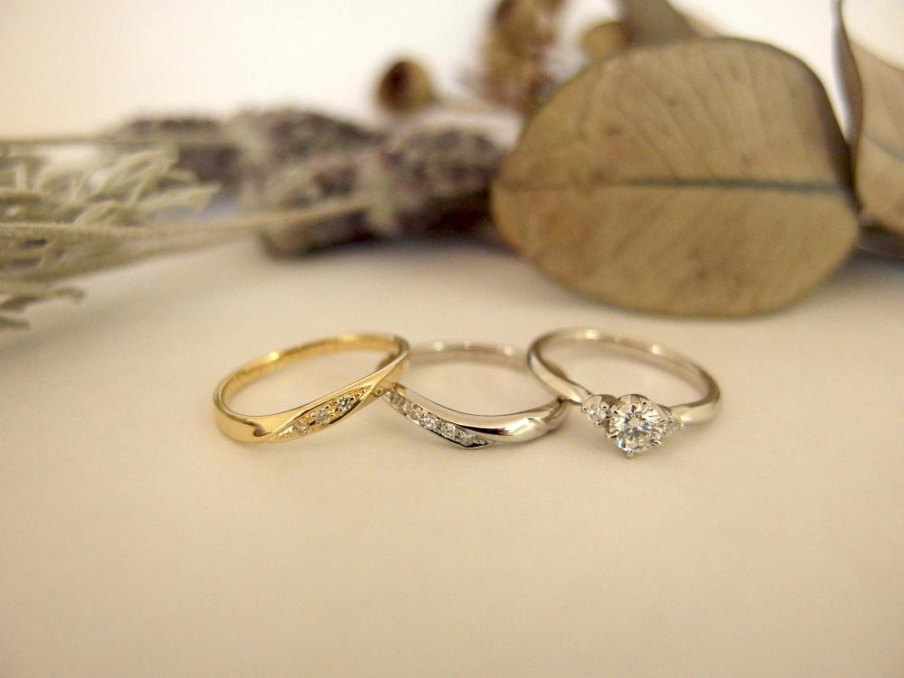 エルドーオリジナルの3本セットリング(婚約指輪・結婚指輪)『メリア』
