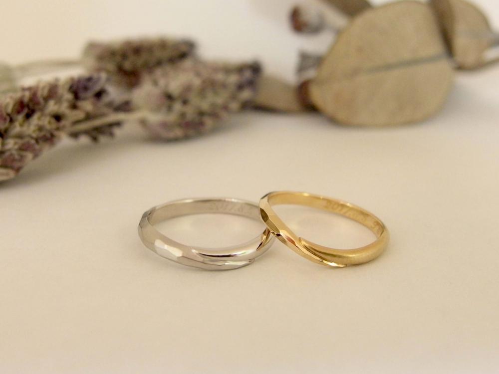 エルドーセレクトブランドのVラインアンティーク結婚指輪『カツキ』