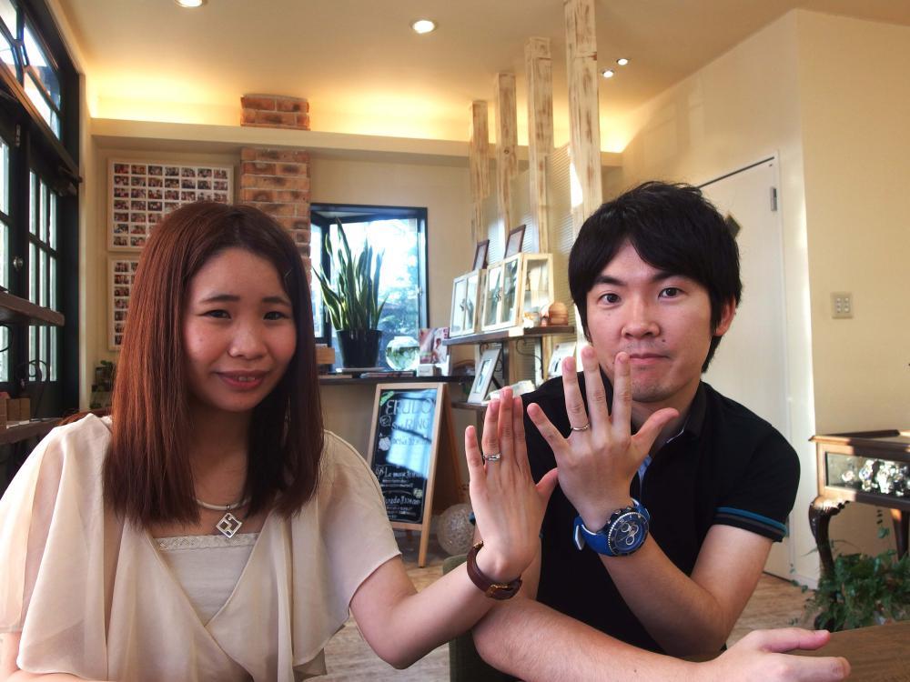 福山市大門町の大塚様ご夫妻(3本セット結婚指ご購入)