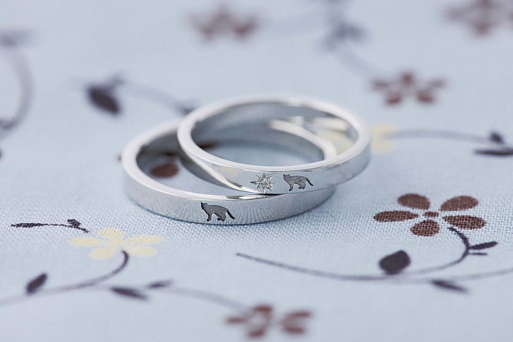 ネコ好きなご夫婦が作られた結婚指輪