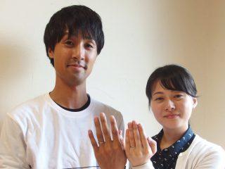 福山市東村町の大塚様ご夫妻(婚約指輪込み3本セットの結婚指輪)②