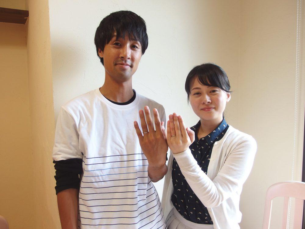 福山市東村町の大塚様ご夫妻(婚約指輪込み3本セットの結婚指輪)