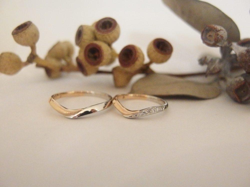 エルドーオリジナルのコンビ仕上げの結婚指輪『メリア・エルドラド』
