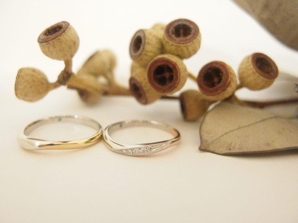 エルドーオリジナルのK18PGコンビの結婚指輪『メリア・エルドラド』
