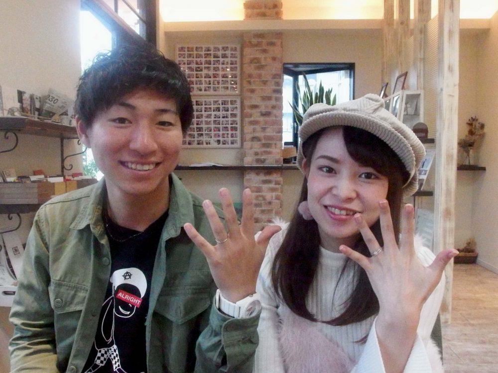 福山市駅家町からお越しの岩田様ご夫妻エルドーオリジナル3セットリングご購入
