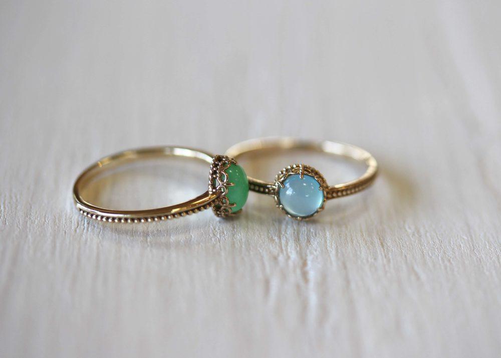 シーブルーカルセドニー、クリソプレーズの指輪