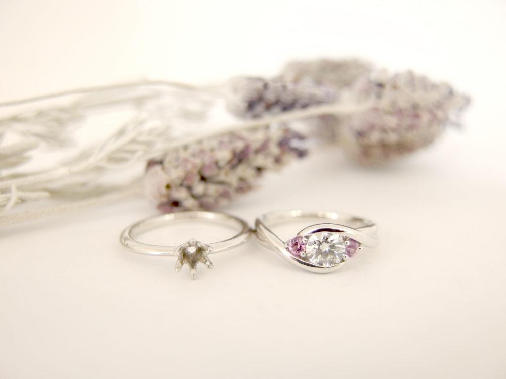 縦爪の婚約指輪を普段使いの指輪にリフォーム