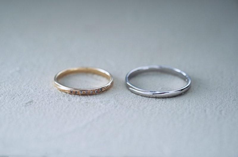 細目で斜めにダイヤの入った結婚指輪