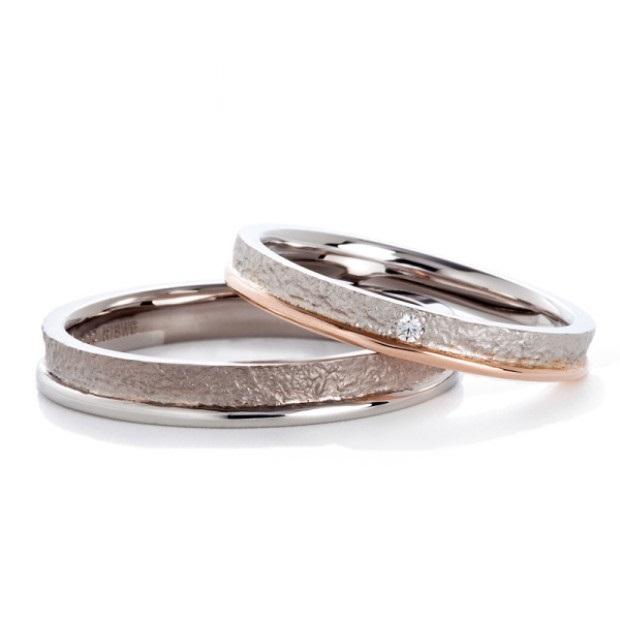 和紙のような質感とつやのあるラインが個性的な結婚指輪 Twins Cupid/ツインズキューピッド