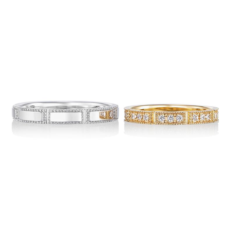平行の結婚指輪。帯状に留められたミル打ちがアンティークの上品さを穏やかに表現しています。