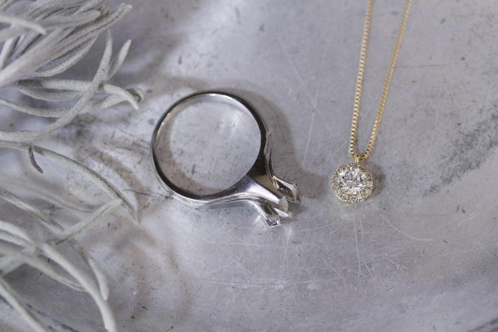 昔購入した婚約指輪のダイヤを使ってネックレスへ