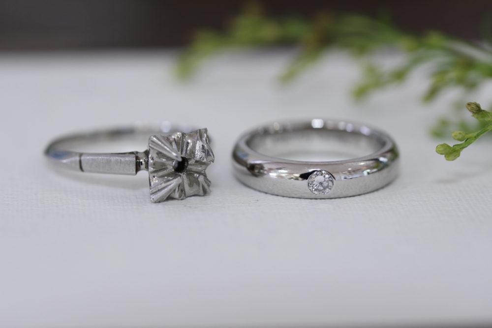 昔購入した指輪のダイヤを使ってシンプルなリングへと