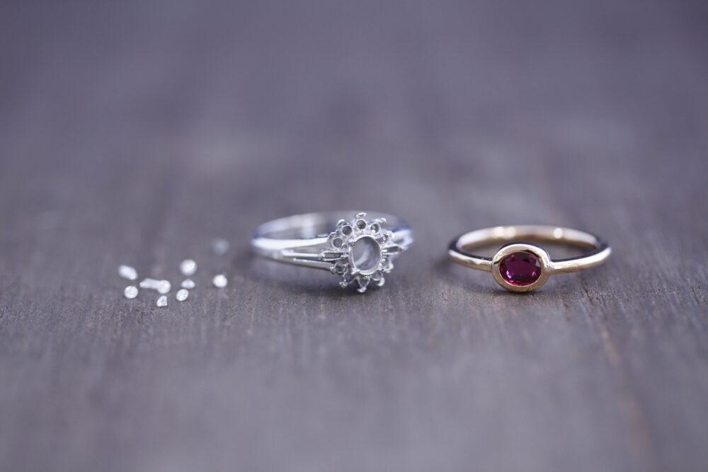 お母様のルビーの指輪を娘さんの指輪へ
